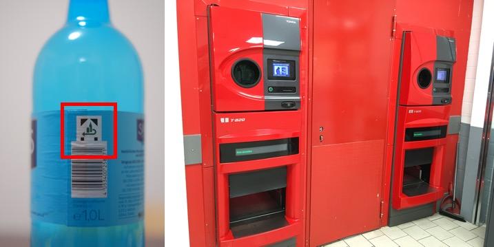 写真1. 回収対象のマーク(左)とスーパーにある自動容器回収機(右)